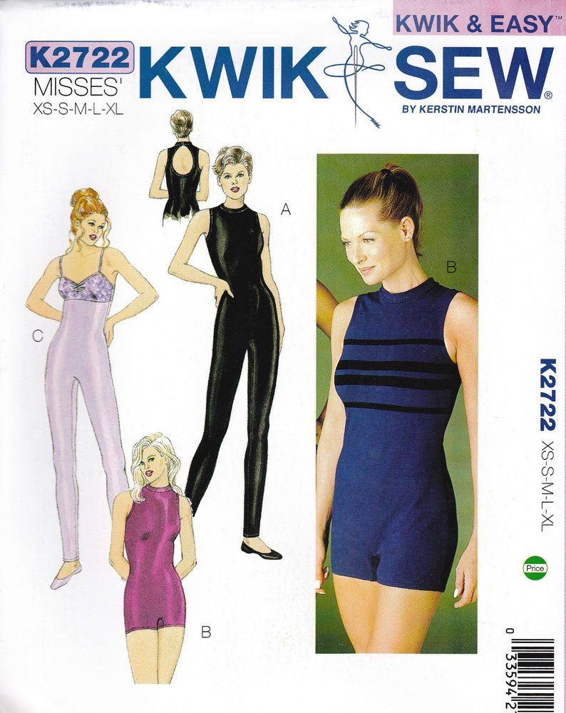 Kwik Sew Pattern 2722 Unitard Leotard Yoga Dance Costume XS-XL OOP ...