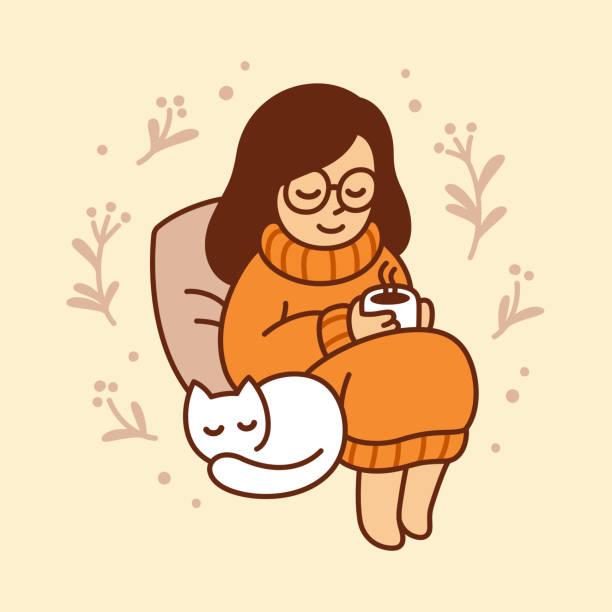 Best Woman Drinking Coffee Illustrations, RoyaltyFree