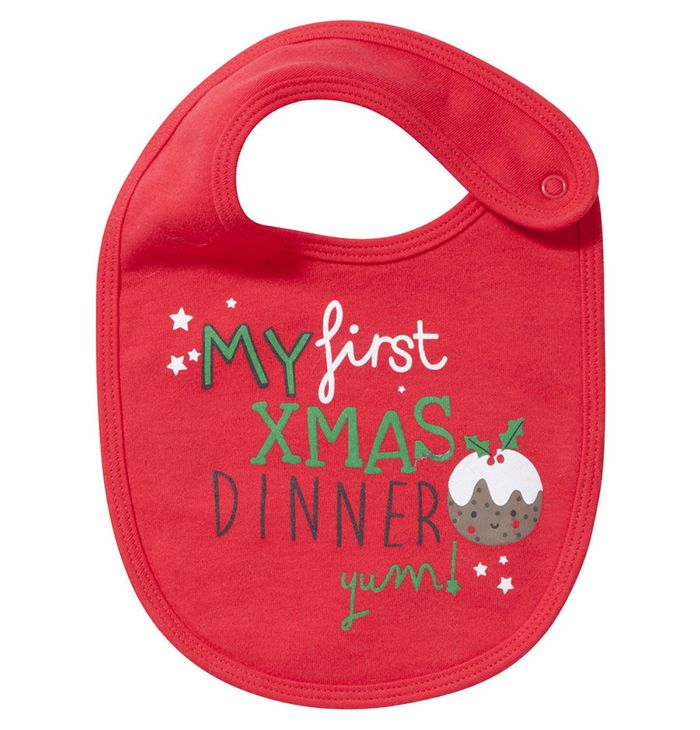 4cbda38a4 My First Christmas Dinner Baby Bib. A special baby gift idea for Christmas.