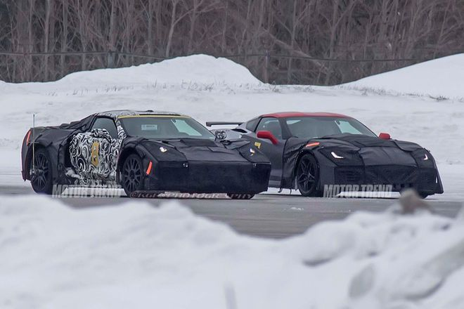 Spied! Mid-Engine Chevrolet Corvette Caught Winter Testing With ZR1 - Motor Trend