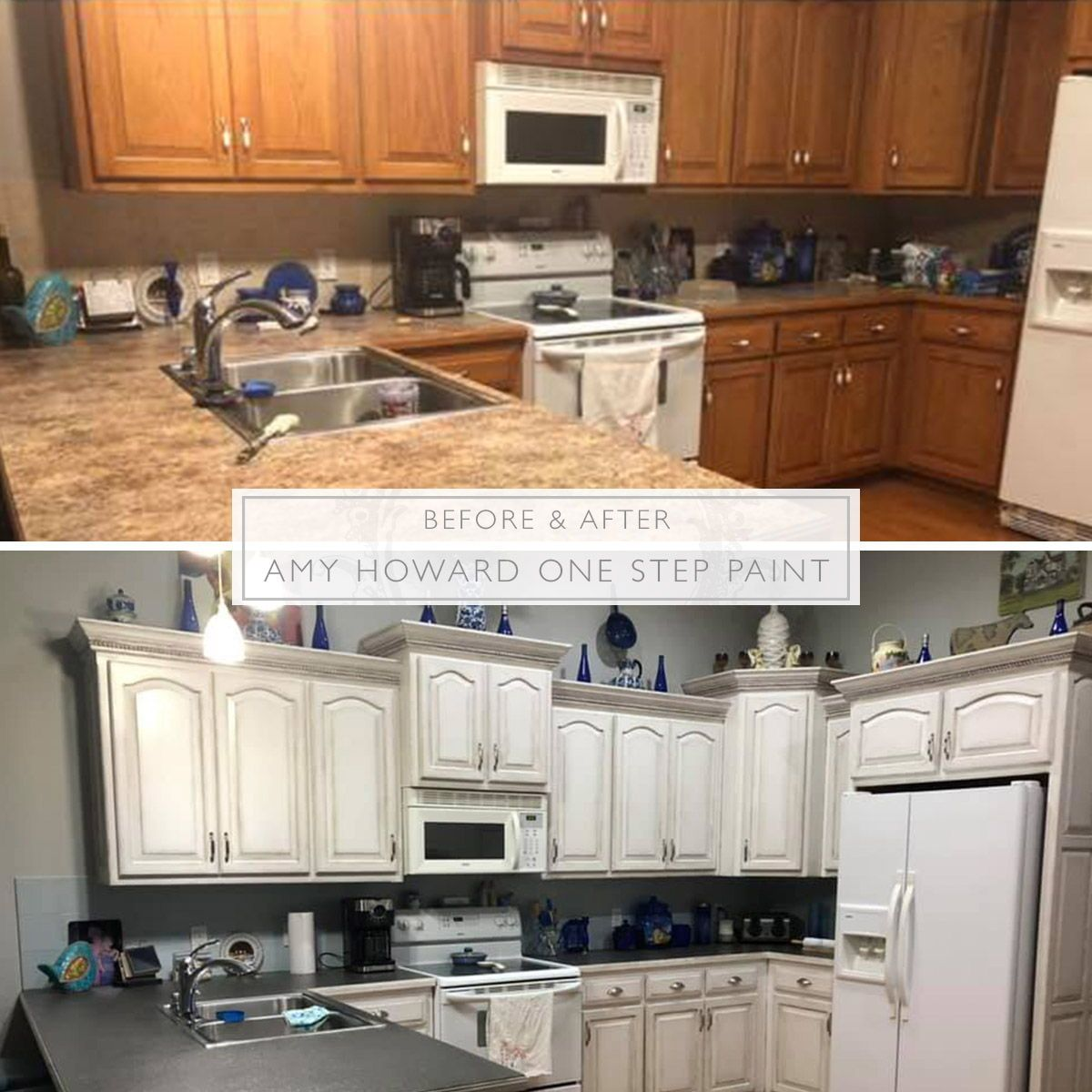We Love This Kitchen Makeover By Amy Howard At Home Customer Pam Sadler Summers Grey She Used Ba Chalk Paint Kitchen Cabinets Kitchen Redo Chalk Paint Kitchen