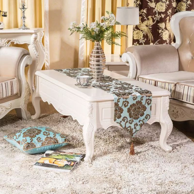 Luxury Velvet Rhinestone Simple Printed Table Runner 32x200cm Table Cloth  Wedding Decor Bed Runner Cloth Decorative