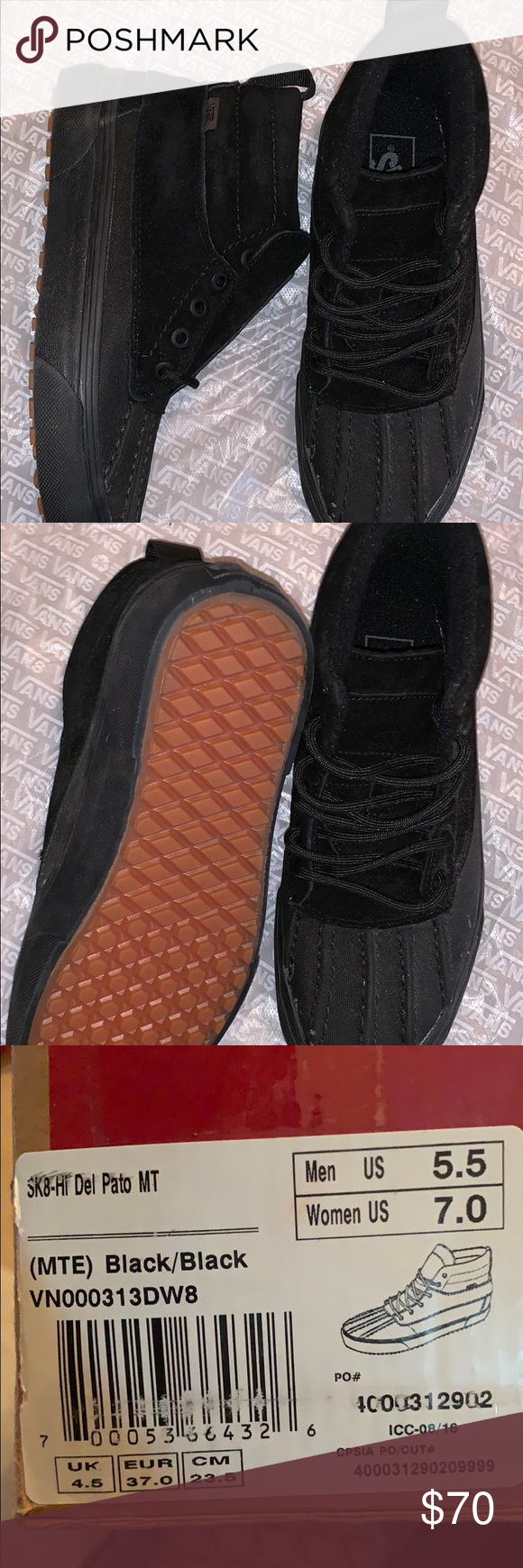 b6fba44f82f809 Sk8 hi mte del Pato Vans Skate high del Pato black Rubber with suede and  leather