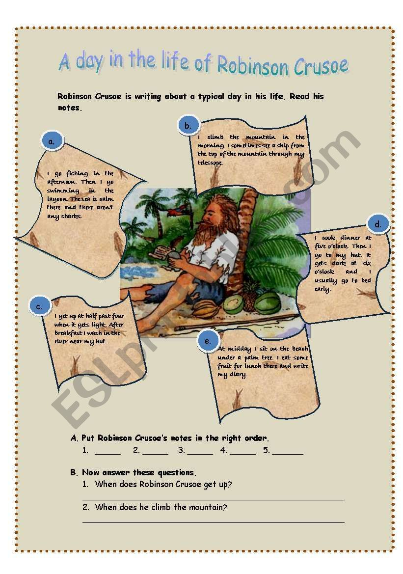 A Reading Comprehension Worksheet Ordering Paragraphs Answering Questions And Matching Vocabulary From The Text With Pictures The Ro Scuola Attivita Inglese [ 1169 x 821 Pixel ]