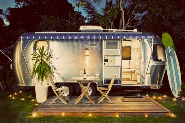 Architecture Ideas Romantic Airstream Trailer With Blue Awning Stripe Surfing Bord