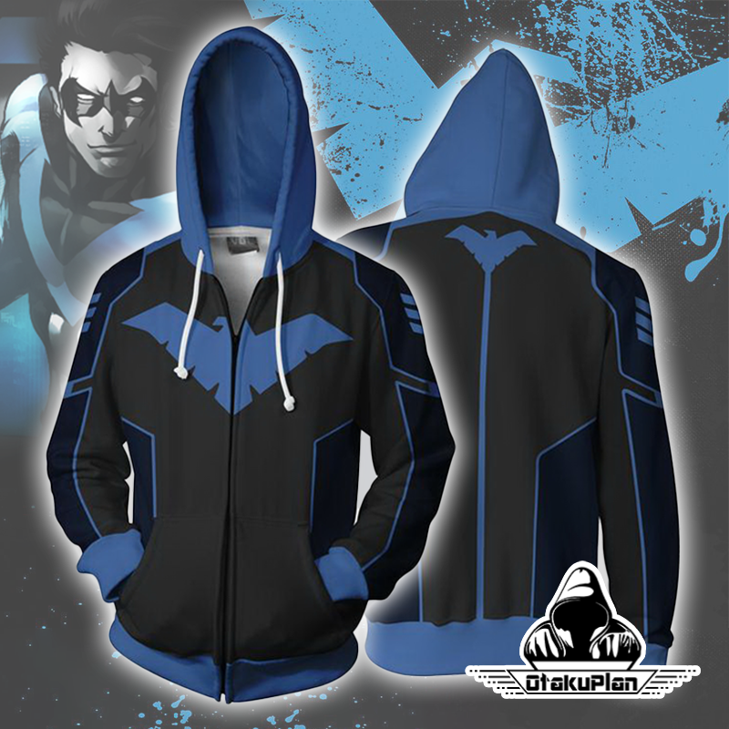 Nightwing Blue Zip Up Hoodie Jacket anime animelover