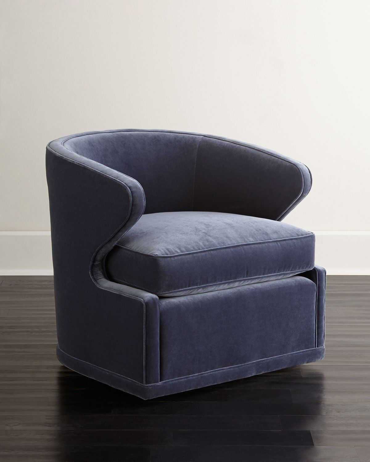 Dyna St. Clair Navy Velvet Swivel Chair Leather swivel