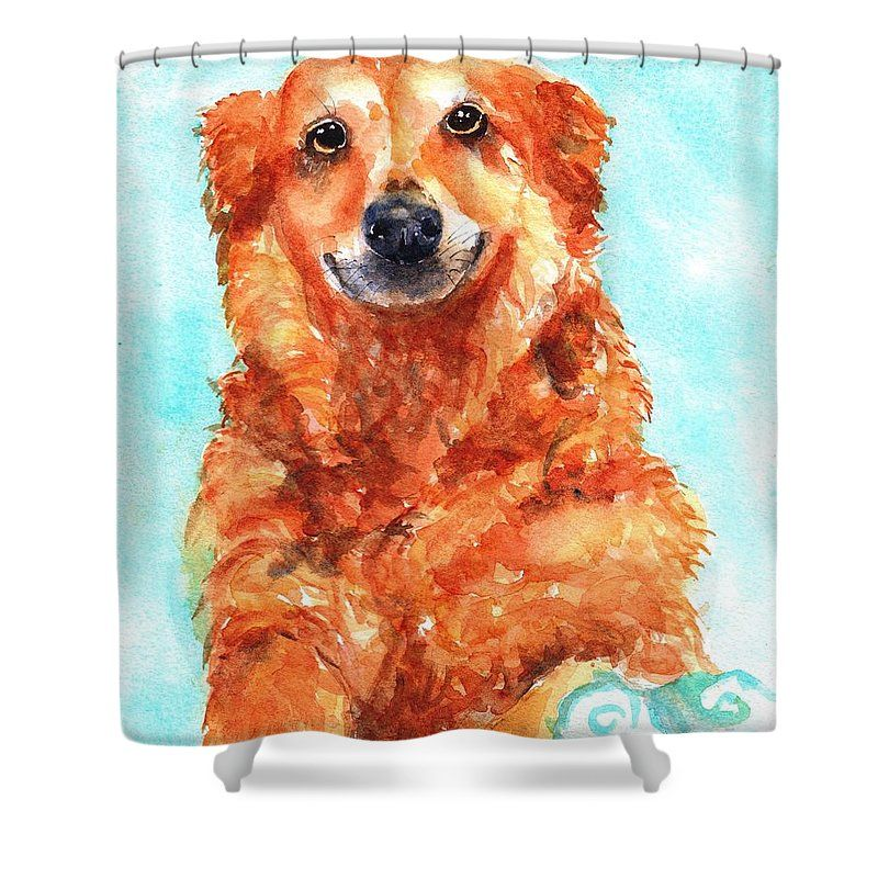 Red Golden Retriever Smile Shower Curtain For Sale By Carlin