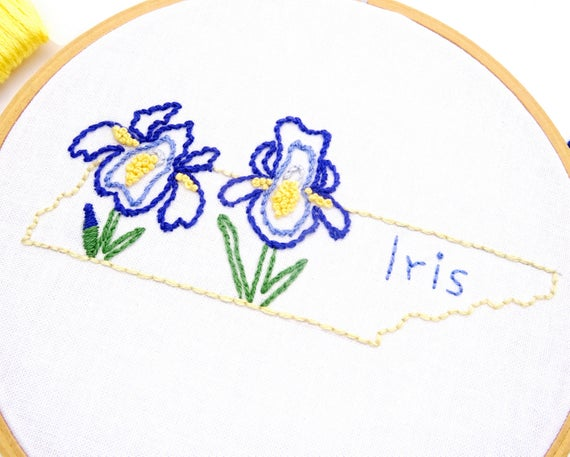 Iris Flower Embroidery Design Tennessee Embroidery Hand Etsy In 2020 Flower Embroidery Designs Simple Embroidery Designs Embroidery Flowers