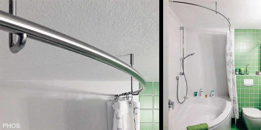 Duschvorhangstange Gebogen In Rund Oder Oval Duschvorhangstange Dusche Badewanne