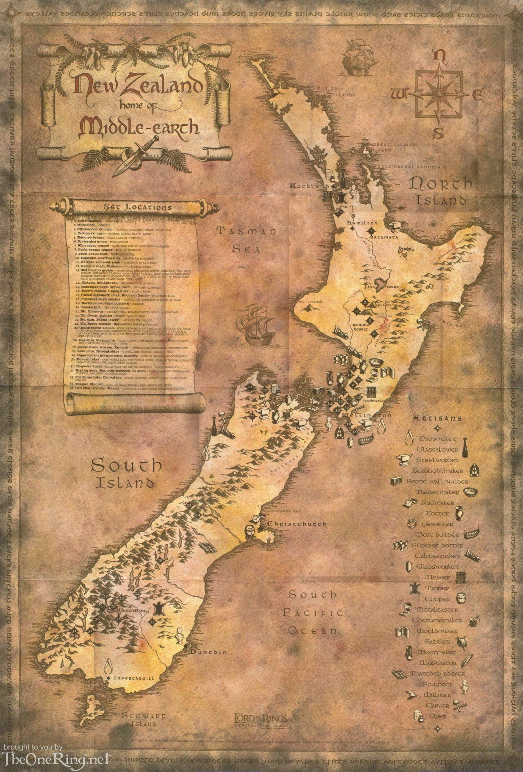 Map of Middle Earth/New Zealand | New Zealand | Lord of the rings