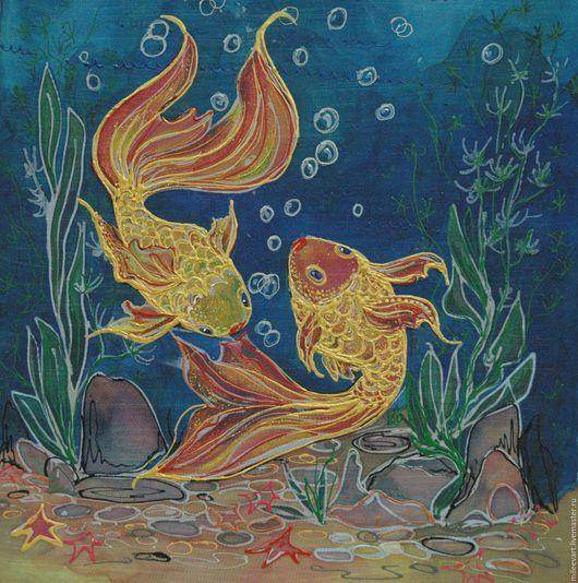 Животные ручной работы. Ярмарка Мастеров - ручная работа. Купить Золотые рыбки. Батик. Авторская работа.. Handmade. Комбинированный, рыбки