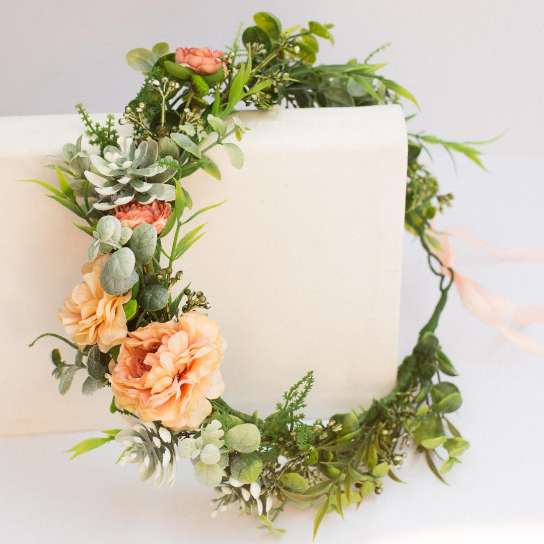 Coral Green Flower Crown Eucalyptus Wedding Hairpiece Etsy Flower Crown Wedding Flower Crown Flower Headpiece