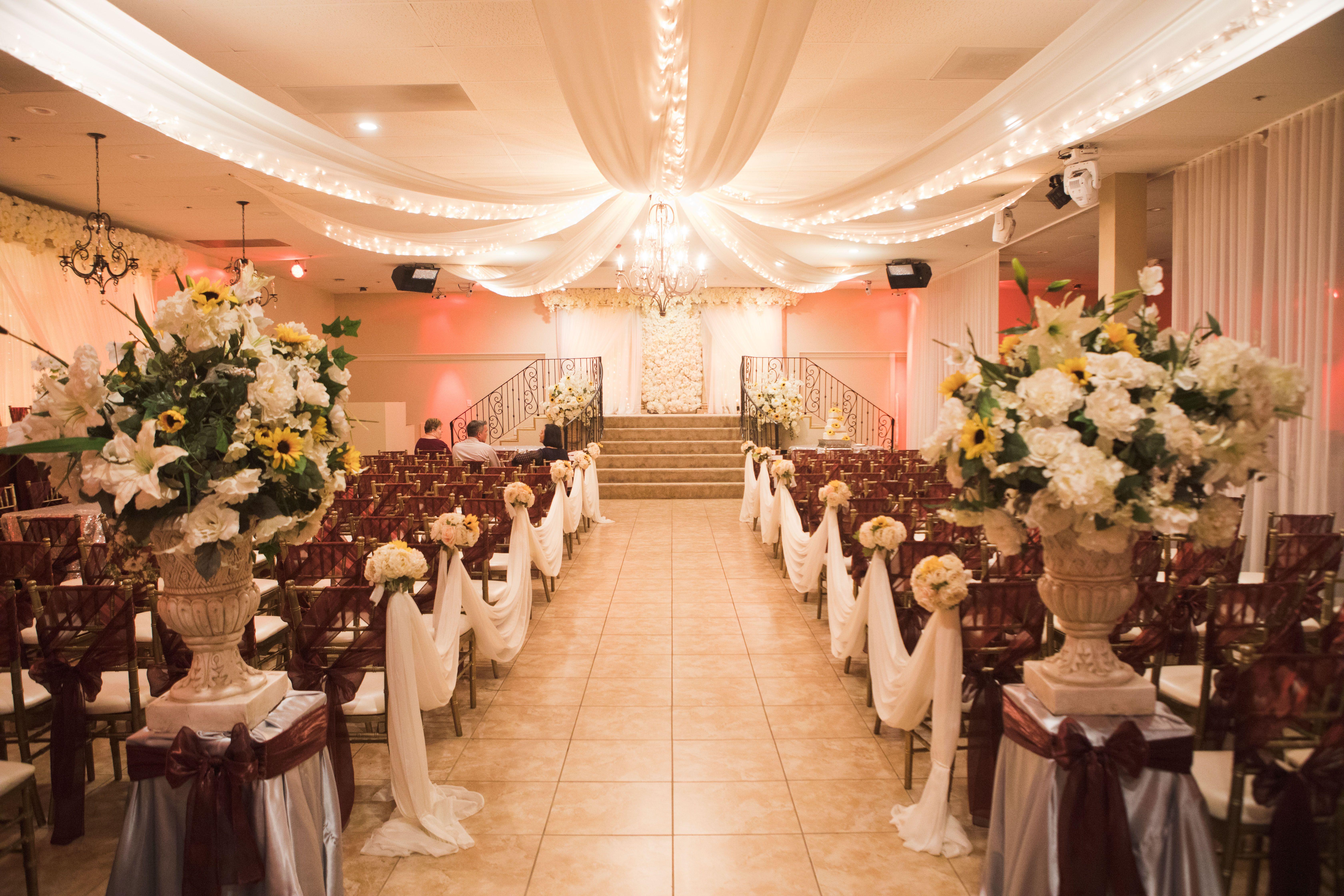 Indoor Wedding Ceremony With Maroon And Silver Colors Arizona