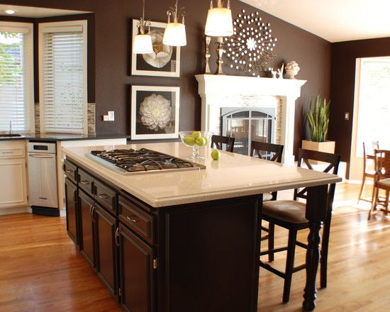 elegance dark brown paint colors: traditional kitchen island