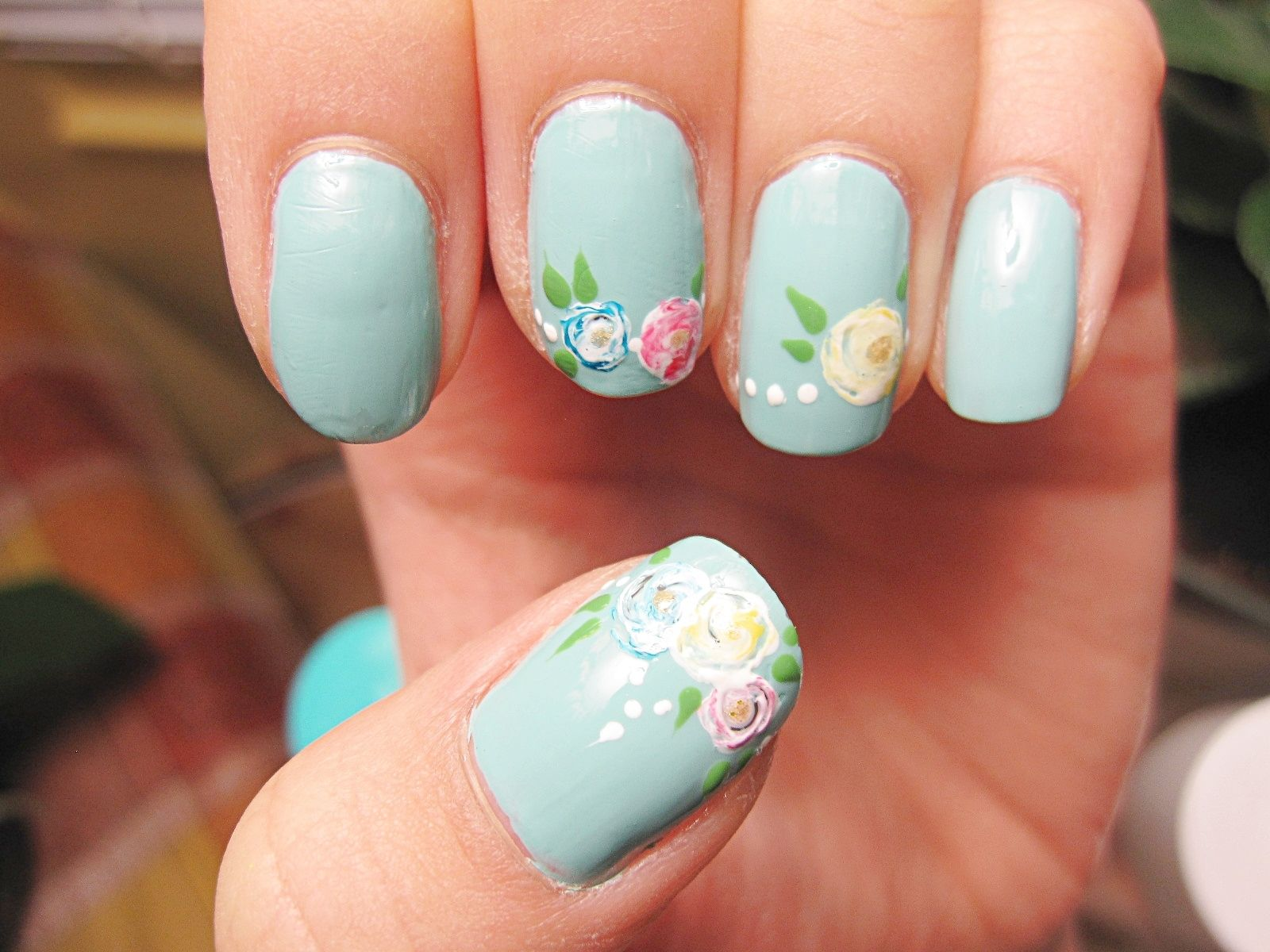 art blue polish flowers pretty nail design lovely pretty nail