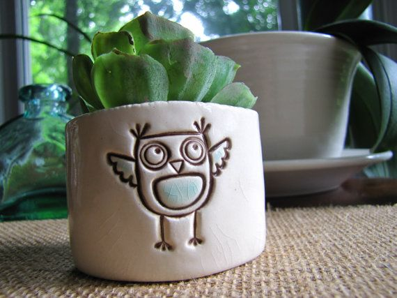 Owl Ceramic Succulent Planter  Cream White by TakeMeHomeAndAway, $18.00