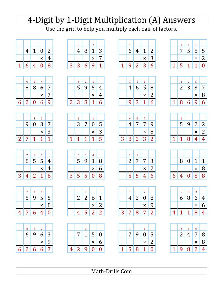 The 4 Digit By 1 Digit Multiplication With Grid Support A Math Worksheet Page 2 Multiplication Worksheets Multiplication Box Method Multiplication