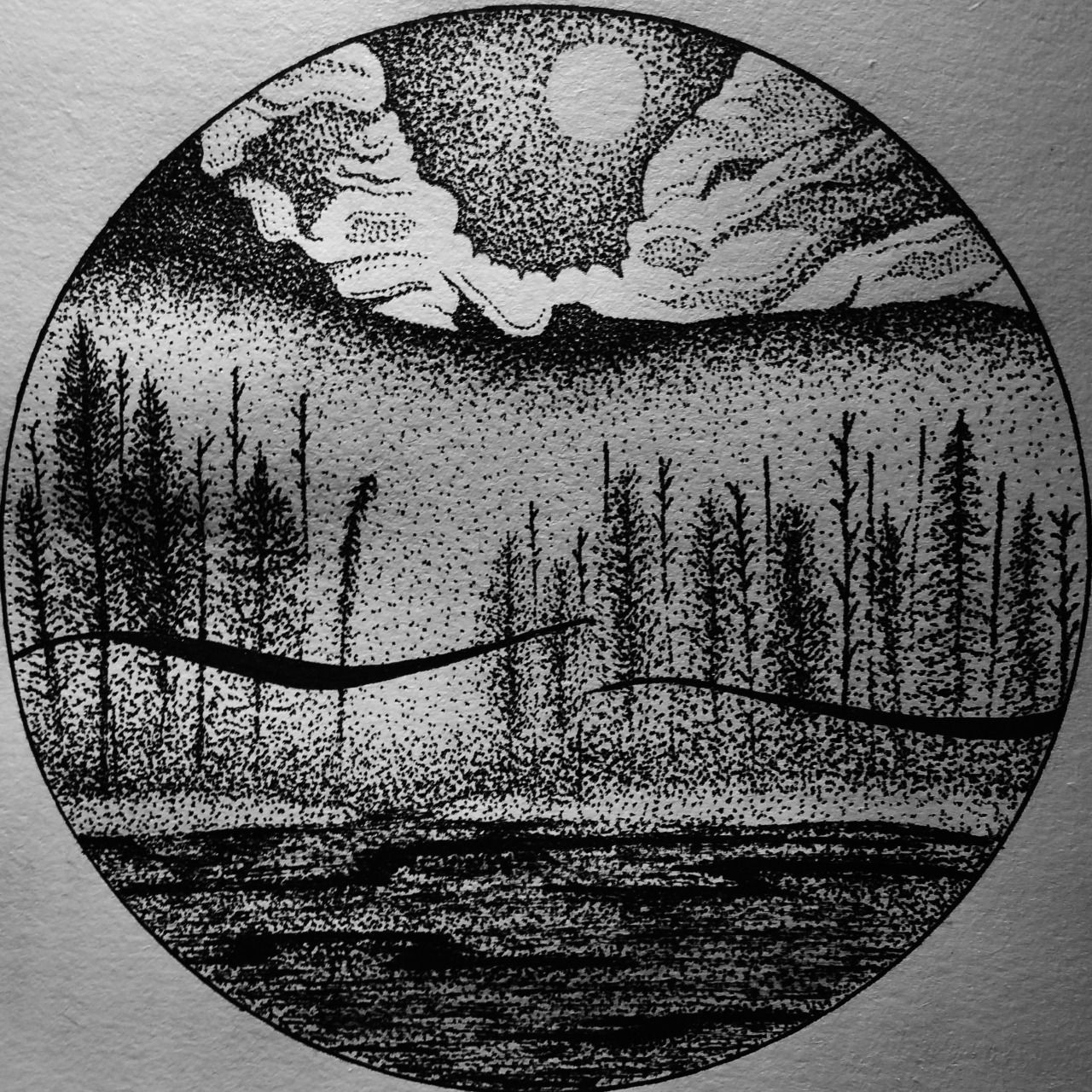 Landscape Pen Drawing. Good Of Stippling. Unknown Artist Pointillism In 2019