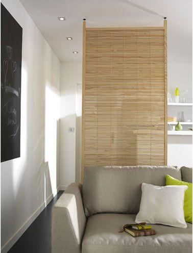 Cloison amovible separation salon cuisine en bois