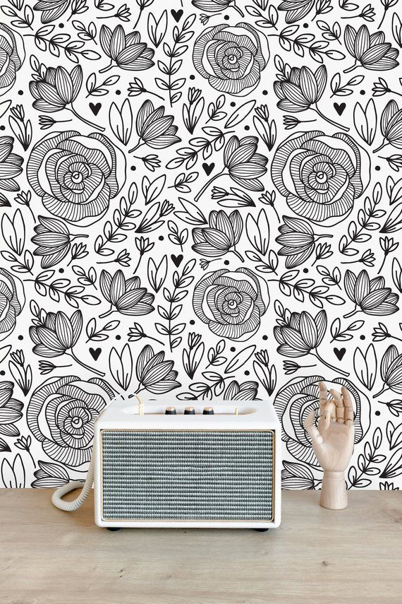 Black And White Floral Removable Wallpaper Peel And Stick Wallpaper Wall Mural Self Adhesive Wallpaper In 2020 Wall Murals Wall Wallpaper Black And White Wallpaper
