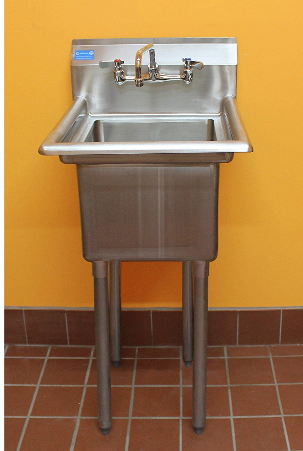 Amgood Utility Stainless Steel Sink 1 Compartment Laundry Room