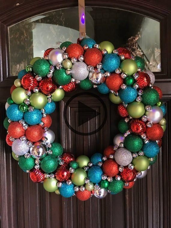 Gorgeous Red, White, Silver, Teal Blue, and Lime Green Ornament Christmas Wreath! Bauble wreath!
