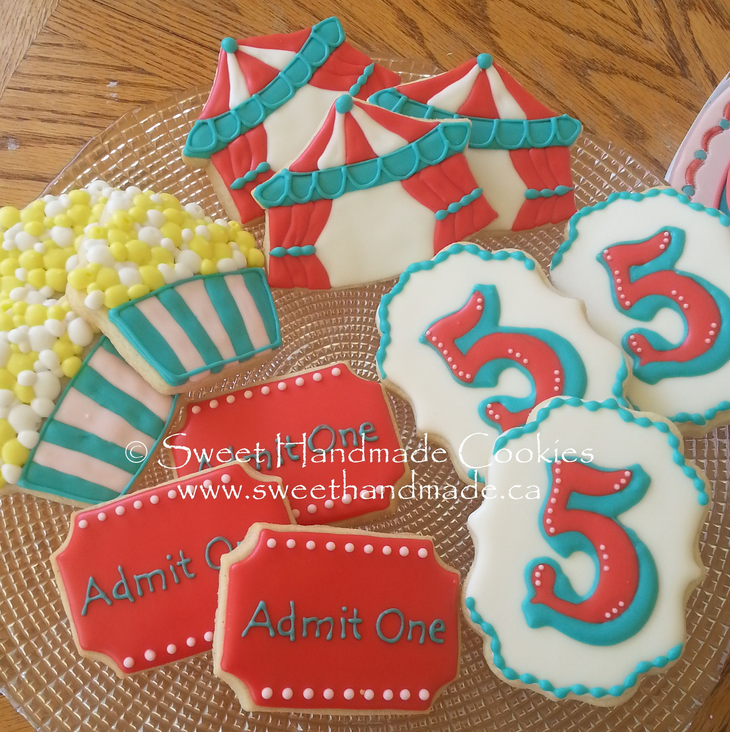 Sweet Handmade Cookies Carnival Circus Ticket 5 Birthday Tent Popcorn