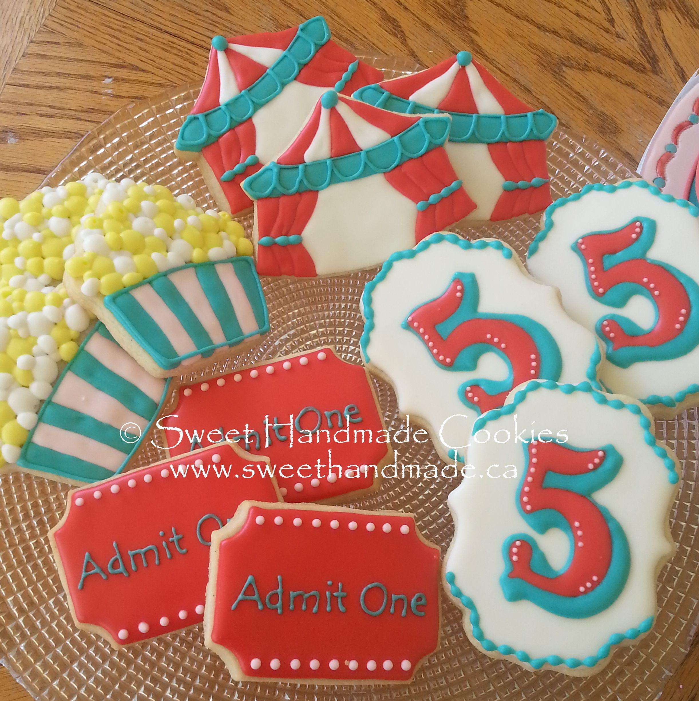 Sweet Handmade Cookies carnival circus ticket  5  birthday tent popcorn cookies  sc 1 st  Pinterest & Sweet Handmade Cookies: carnival circus ticket