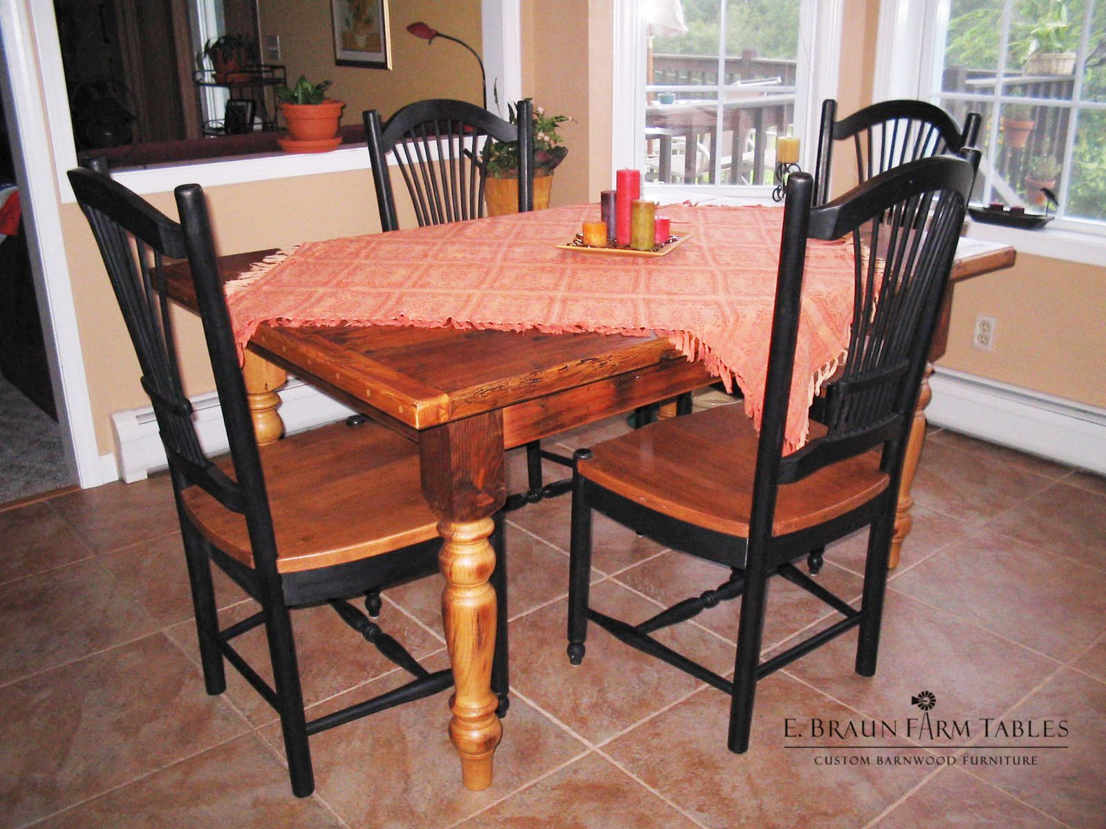 country dining table, crafted by E. Braun Farm Tables and