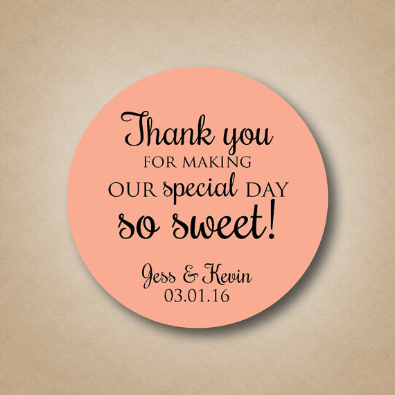 Thank You Stickers Wedding Favor Special Day So Sweet Personalized Labels Custom Round Favors