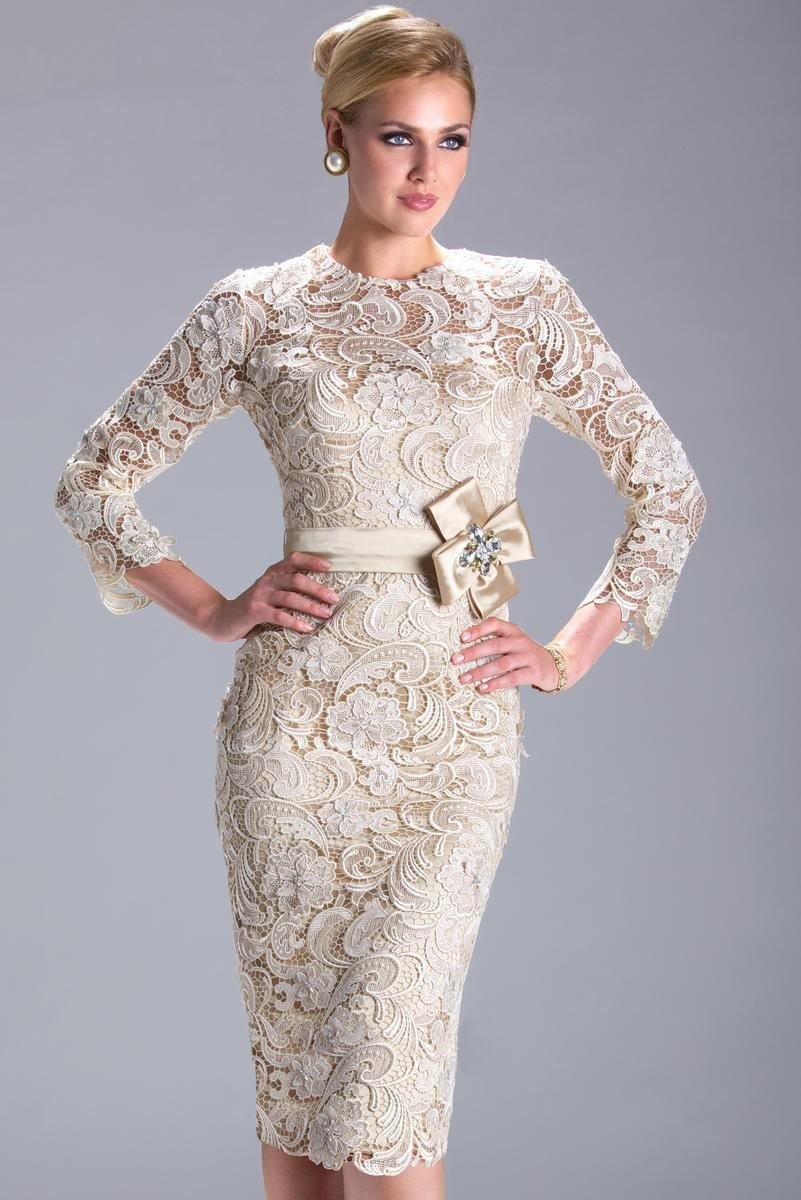 Elegant lace long sleeves bow sashes champagne short mother of the