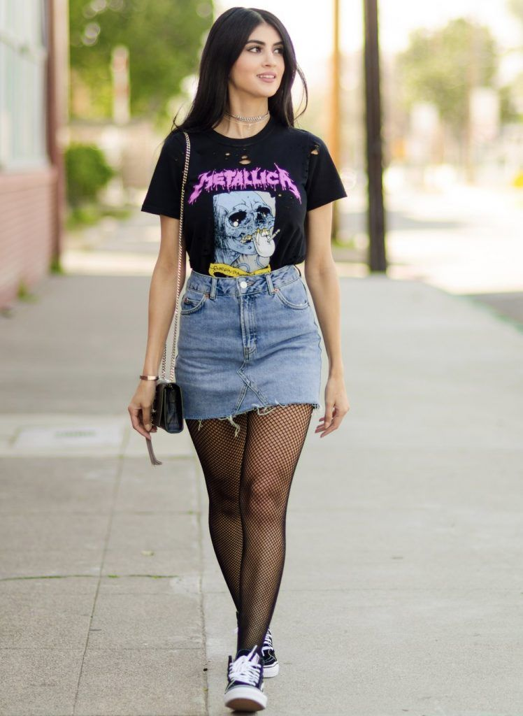 Denim Mini Skirt, Mini Skirts, Sneaker, Distressed Tee, Outfits, Clothes,  Metallica, Girly Girls, Ysl