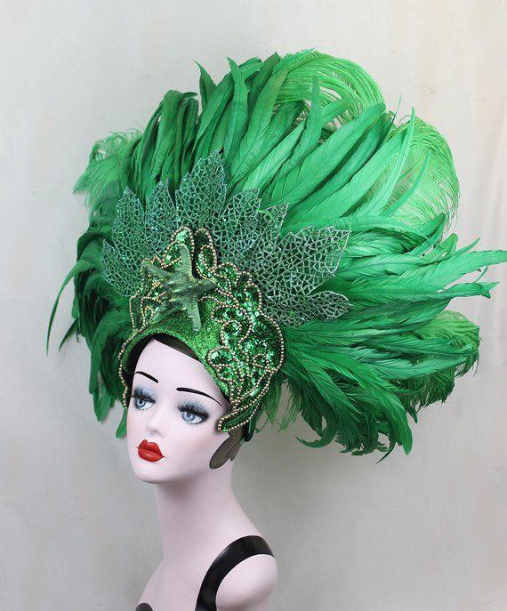 397a3d0863c14 Green Feather Showgirl Headdress, Mermaid Costume, Las Vegas Showgirl, Dance  Costume, Burlesque Head