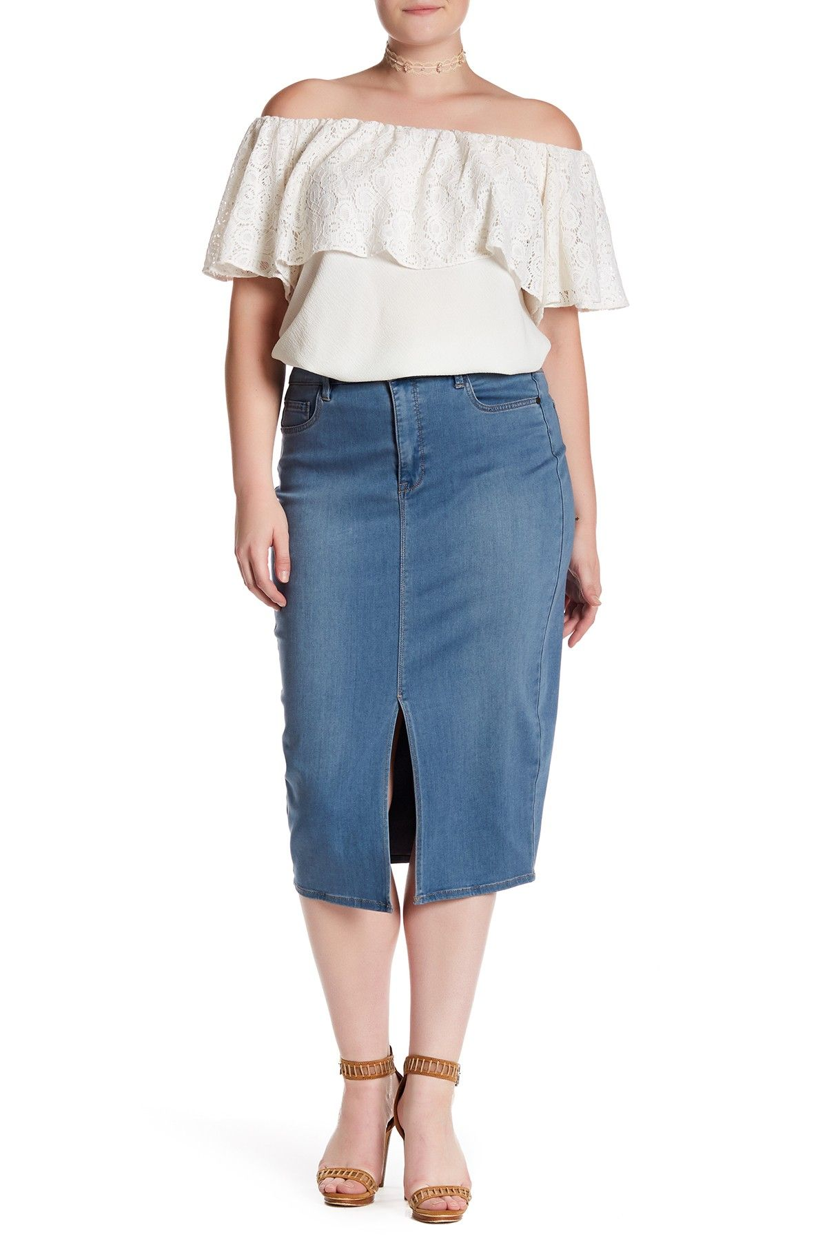 2cae1fa20f2 Denim Pencil Skirt (Plus Size)