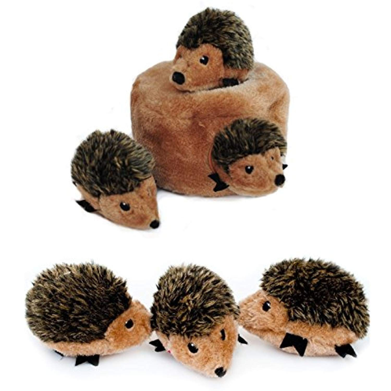 Zippypaws Hedgehog Den With 3 Hedgehogs Hide And Seek Plush Dog