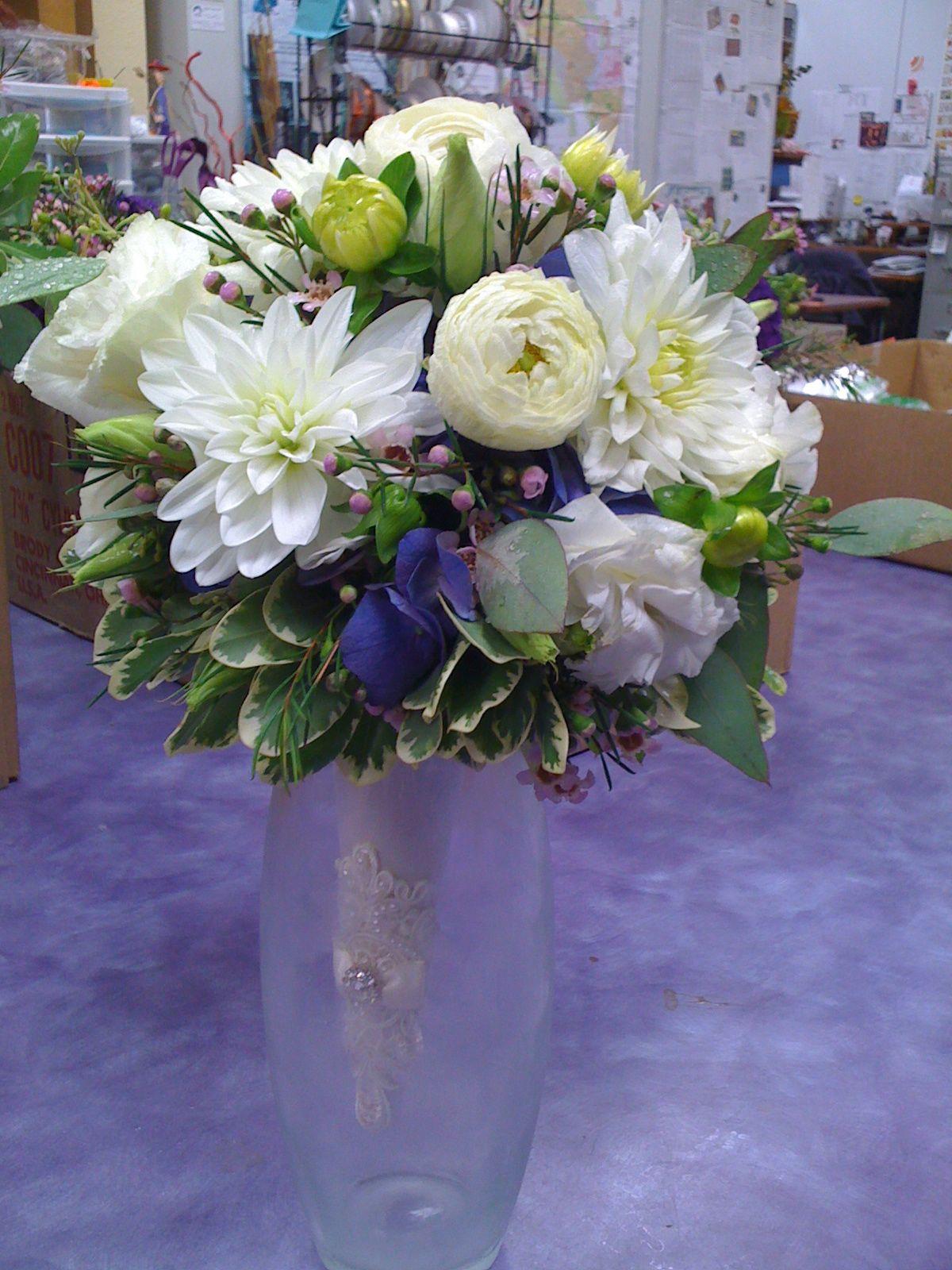White Dahlias White Ranunculus White Lisianthus Wax Flower Blue