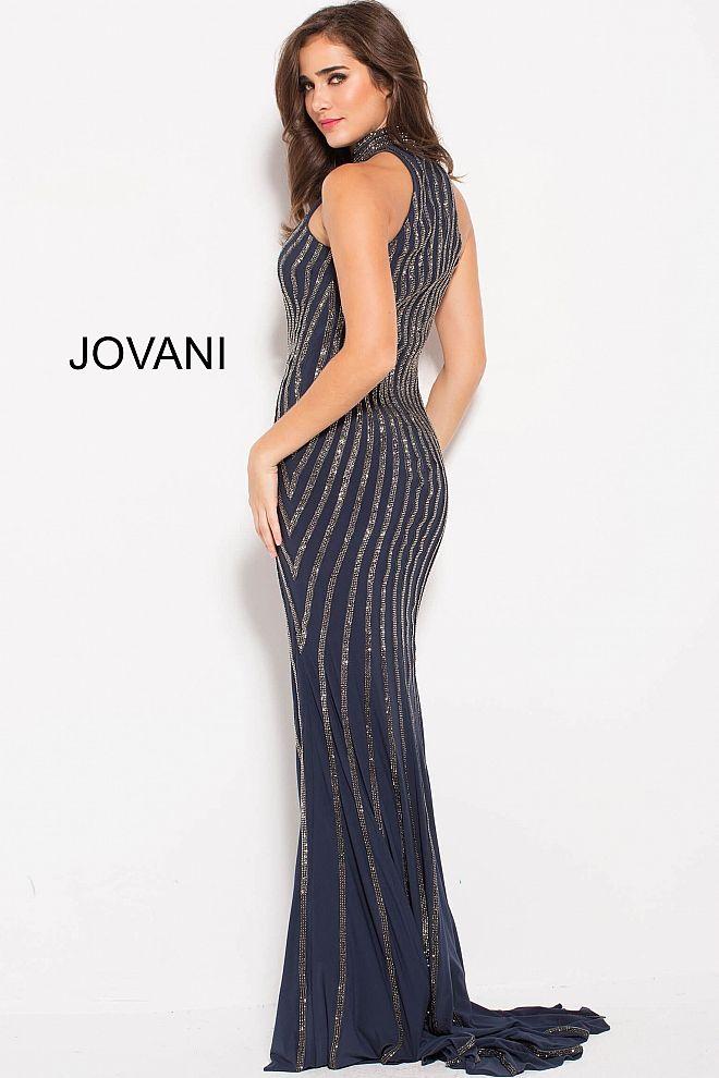 932226775ca Gunmetal Embellished Fitted High Neck Evening Dress  55999  Jovani   PromDress