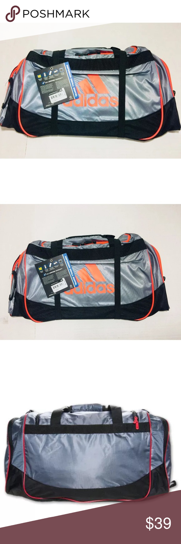 ee1f9a0361a3 NEW ADIDAS DEFENDER DUFFEL GYM BAG LEAD SCARLET 100% AUTHENTIC ADIDAS  MERCHANDISE!