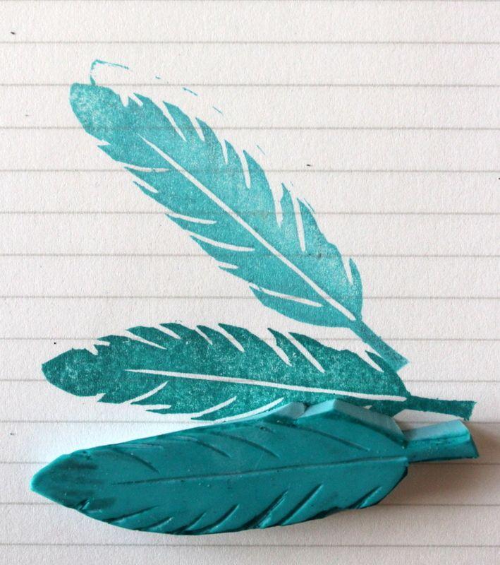 Feathers stamp handmade Plume tampon fait-main via Xènia crafts