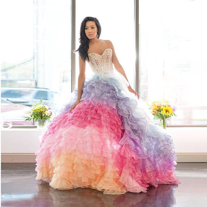 Rainbow wedding gowns aliexpress buy new elegant rainbow rainbow wedding gowns aliexpress buy new elegant rainbow wedding dresses 2015 ball junglespirit Gallery