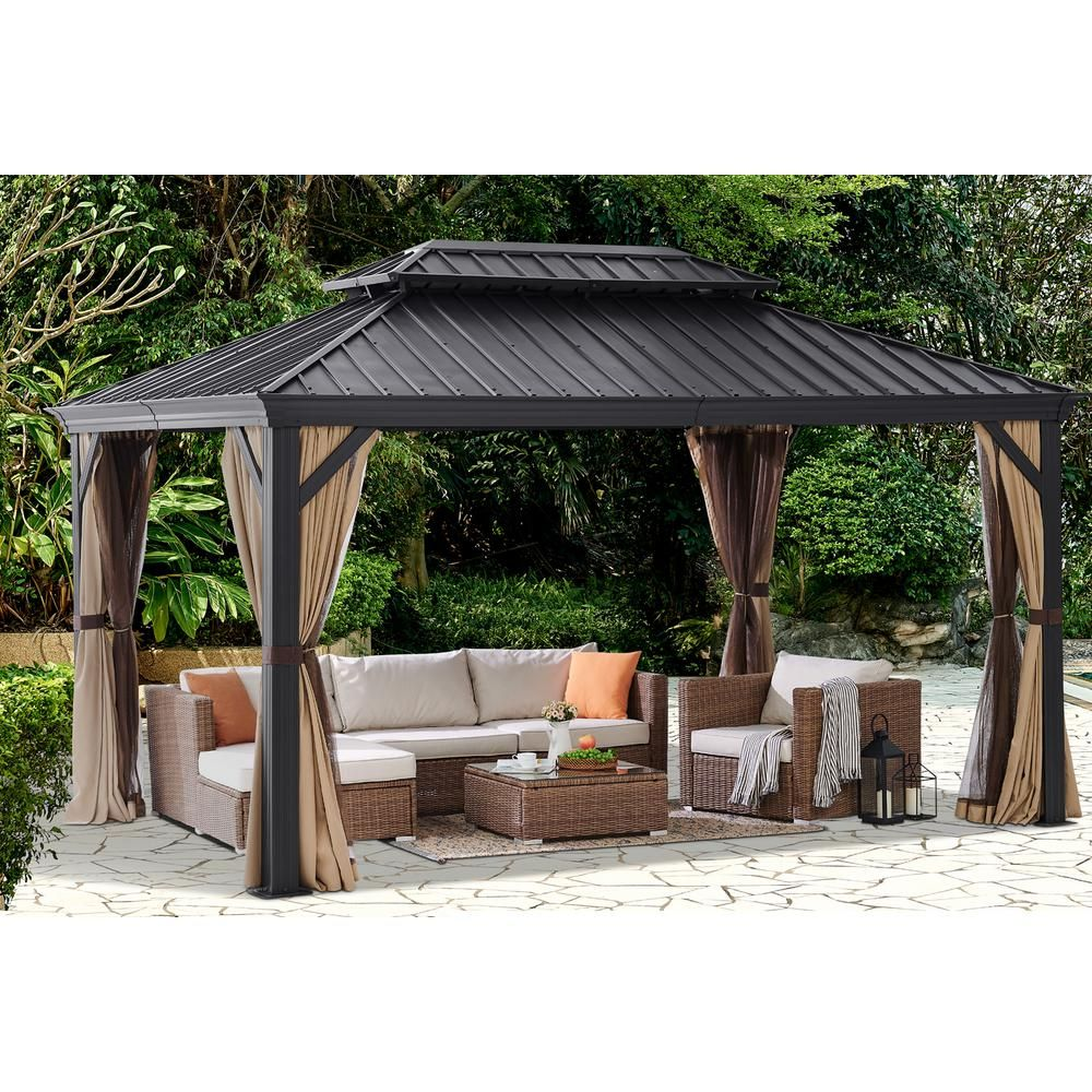 Barton 10 X 14 Ft Outdoor Backyard Hardtop Galvanized Steel Roof Patio 2 Panel Curtains Netting Gazebo With Aluminum Poles 96188 H The Home Depot In 2020 Patio Gazebo Outdoor Backyard Hardtop Gazebo