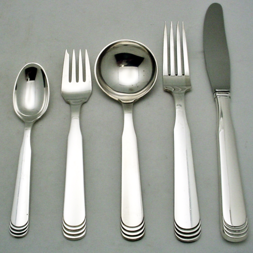 """HANS HANSEN 40 PC. ARVESOLV ART DECO #15 FLATWARE SET, STERLING SILVER. DESIGNED BY KARL GUSTAV HANSEN $4,500.00 Set is for 8 place settings with 5 pc. per setting. Includes: 8 dinner knives 8 3/4"""" long 8 dinner forks 7 1/4"""" long 8 round soup spoon 6 3/8"""" long 8 salad forks 6 1/4"""" long 8 tea/coffee spoons 5 6/8"""" long 4 additional tea/coffee spoons 5 6/8"""" long  Condition: fine vintage, preowned Year: designed in 1971"""