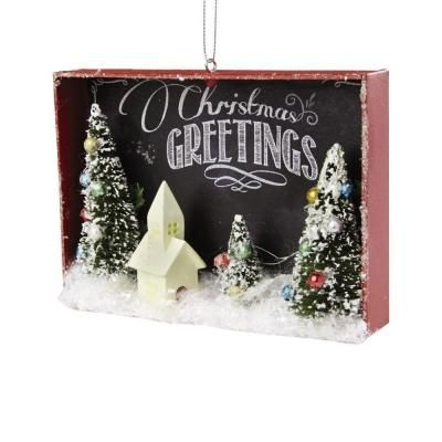 Home Decorators Collection 525 in White Winter Church Shadow Box