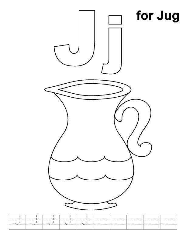 J For Jug Coloring Page With Handwriting Practice Kids Handwriting Practice Preschool Alphabet Printables Letter A Crafts