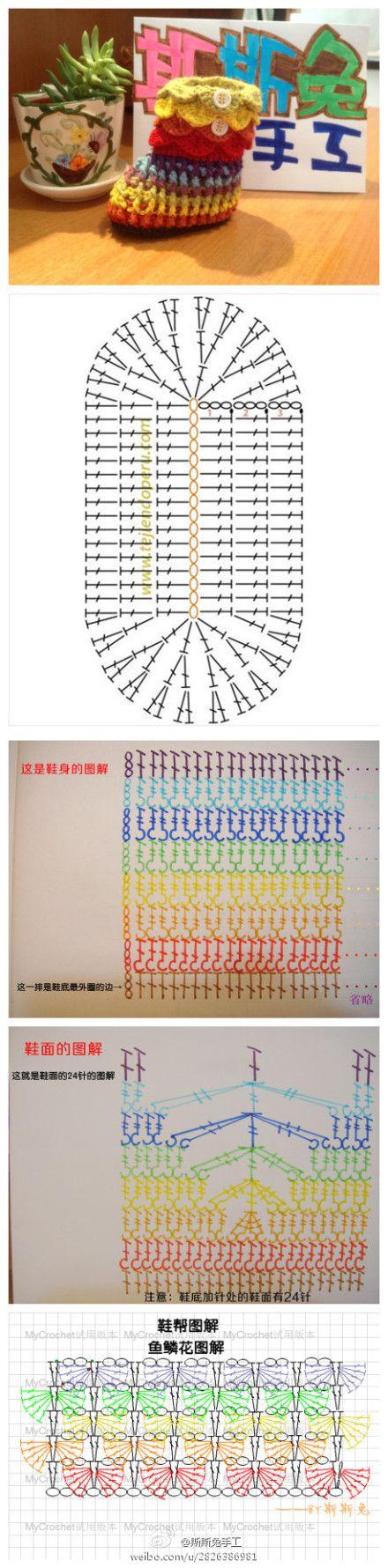 Crochet Booties - Chart | #4 CROCHET CHARTS | Pinterest | Häkeln ...