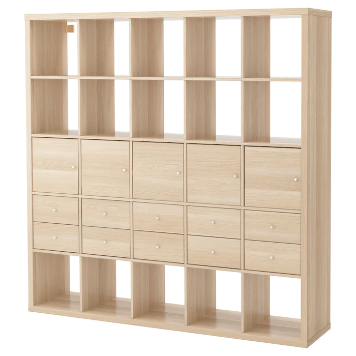 Kallax Shelving Unit With 10 Inserts White Stained Oak Effect 182x182 Cm Dengan Gambar Lemari Peti