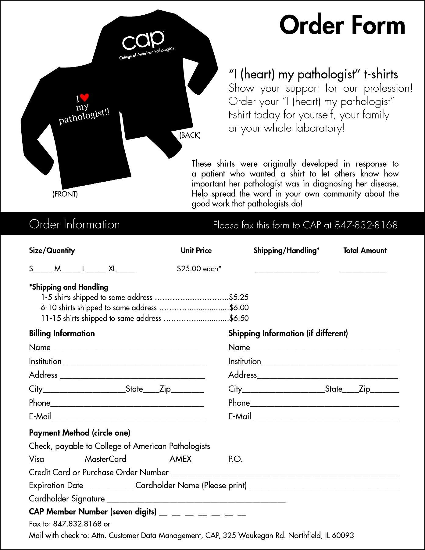 T Shirt Order Form Template Word Sample