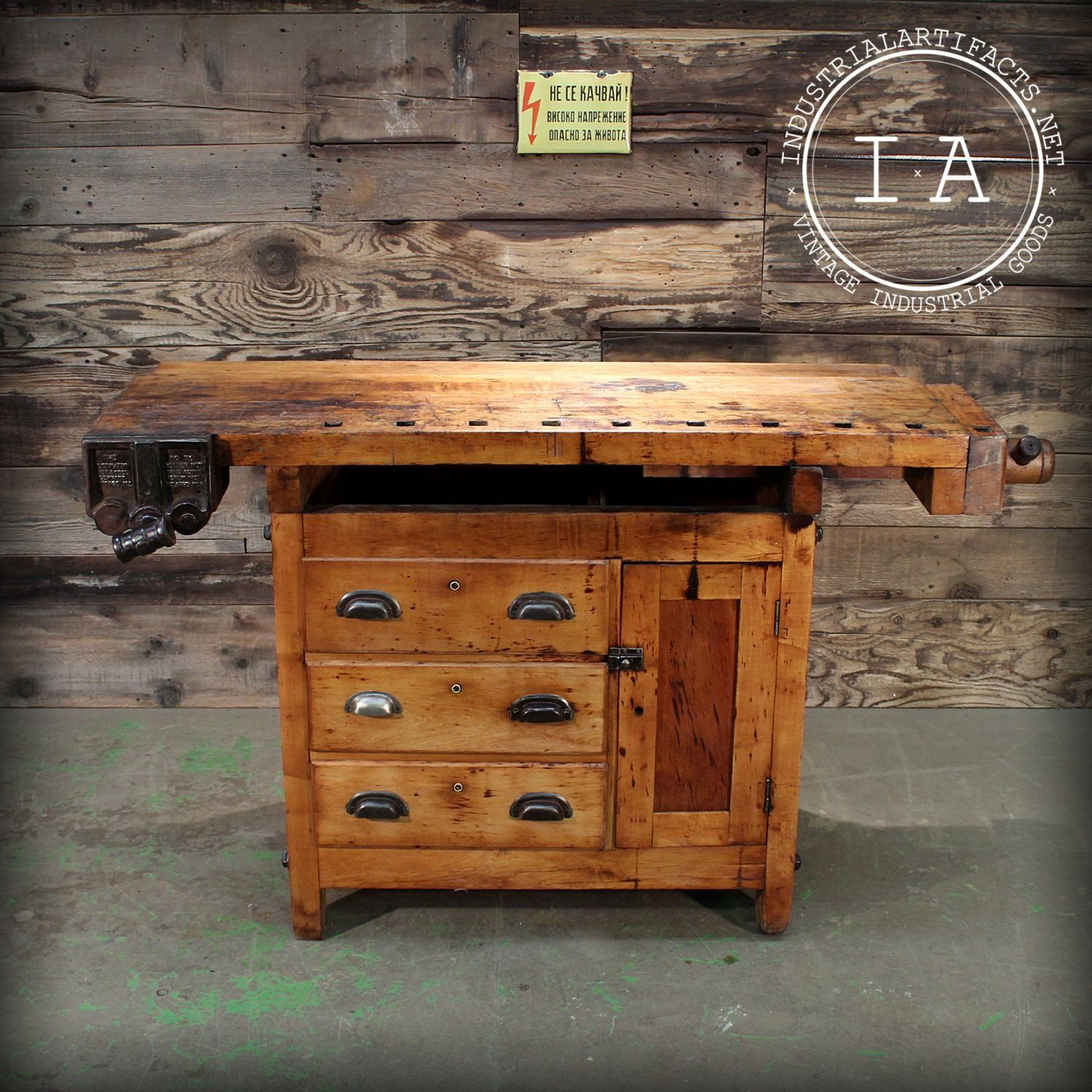 Vintage Industrial Woodworker s Carpenter s Wood Work Bench Table