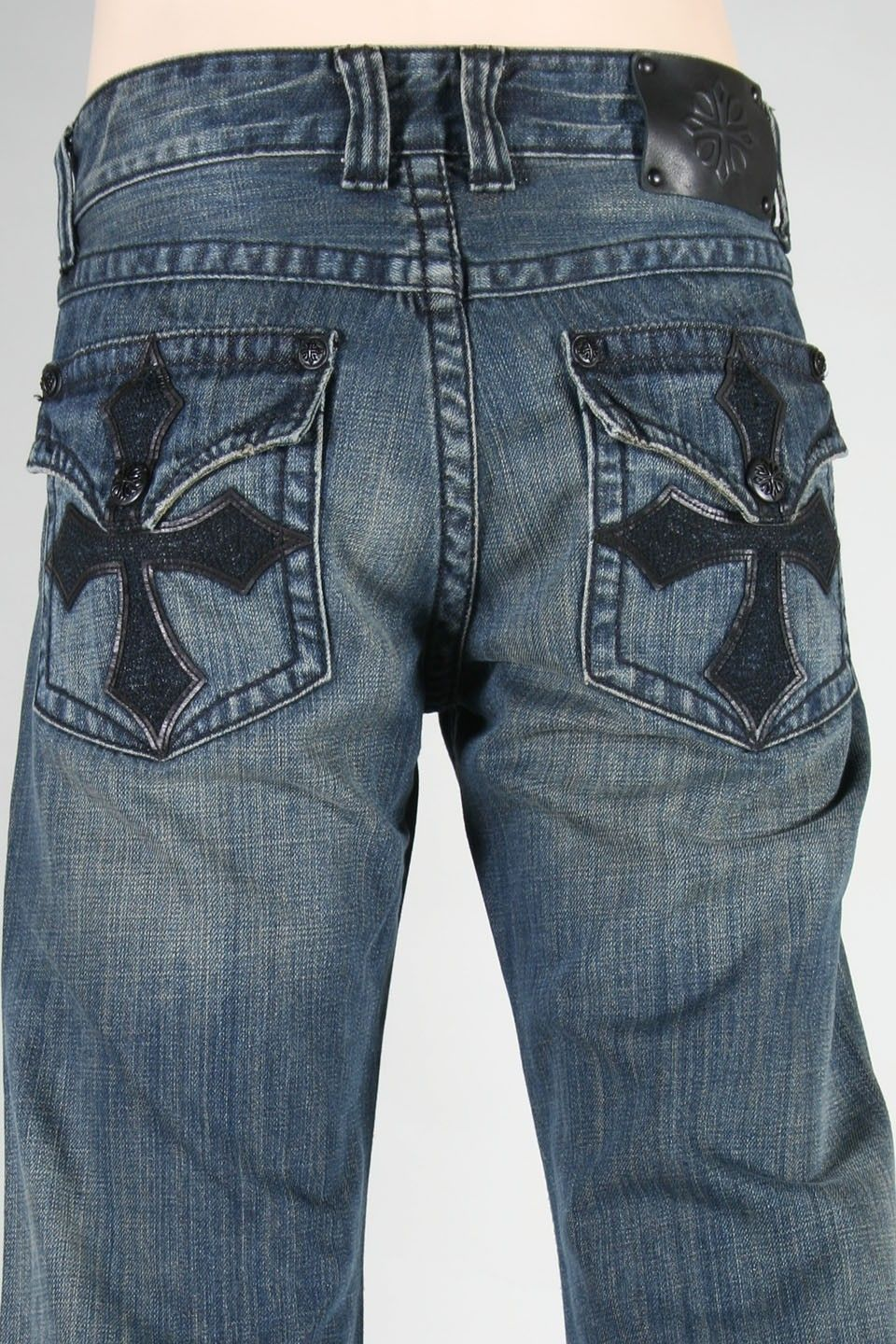 Affliction Clothing Cross Flap Rock Men's Distressed Jeans Affliction®  Cross Flap Rock Distress Jeans for